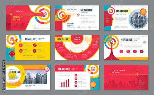 Abstract Presentation Templates Design Set, Colorful Abstract Arrow and Target Background vector - 286537056