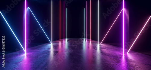 Sci Fi Glowing Neon Lines Tube Lights Futuristic  Purple Blue Vibrant Laser Beams Showroom Concrete Dark Empty Background Tunnel Corridor Hall Spaceship Virtual 3D Rendering - 286537822
