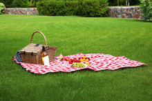 Picnic Basket With Products And Bottle Of Wine On Checkered Blanket In Garden