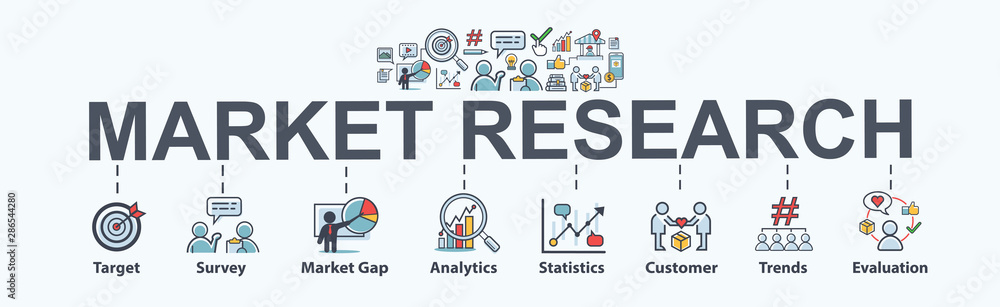 Fototapeta Market research banner web icon for business and social media marketing, target, survey, market gap, customer, trends, analytics and statistics. Flat vector infographic.