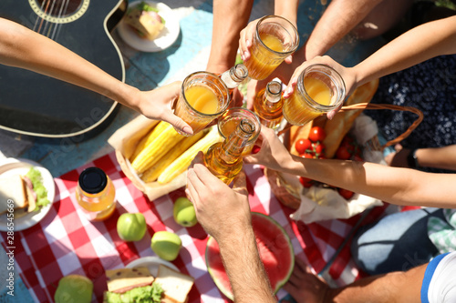Young people enjoying picnic in park on summer day, top view Wallpaper Mural