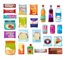 Snack Packet Set. Bottle, Drink, Can, Sandwich, Biscuit. Food Concept. Vector Illustrations Can Be Used For Topics Like Lunch, Plastic Pack, Product