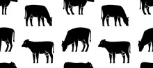 Seamless Pattern With Cow Logo...