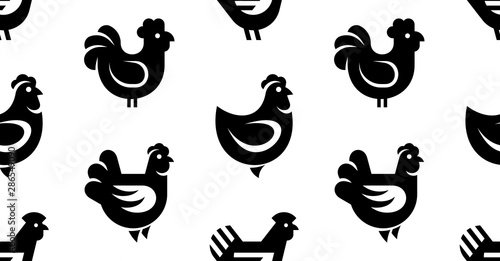 Fototapeta Seamless pattern with Hen, chicken logo. isolated on white background obraz