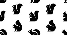 Seamless Pattern With Squirrel Logo. Isolated On White Background