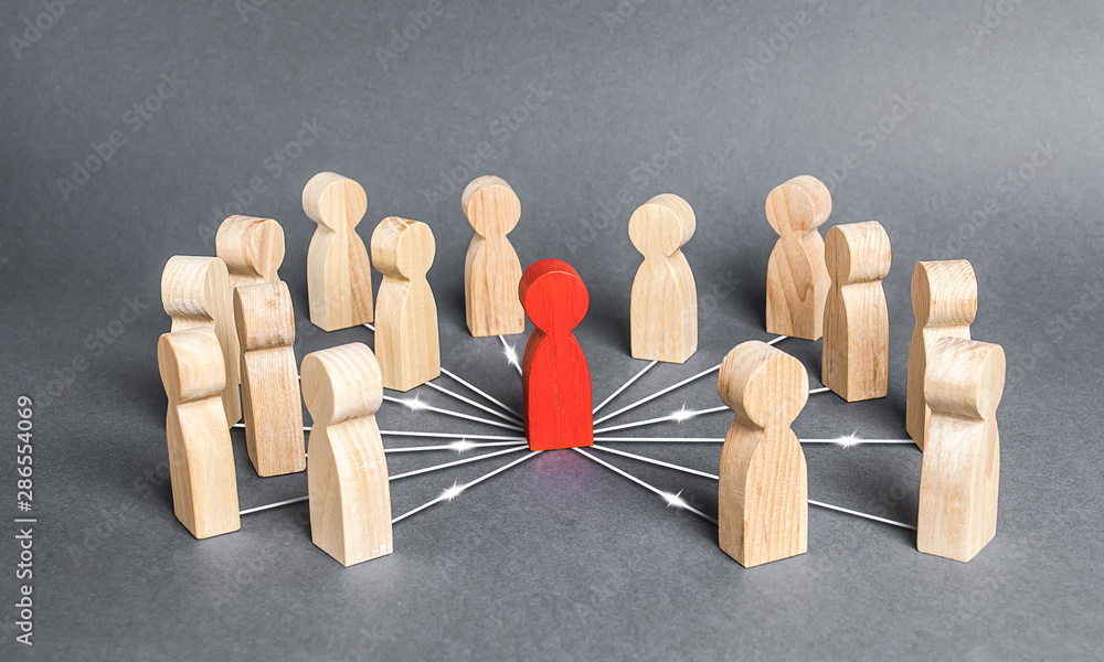 Fototapeta The red person is connected with employees by wide network of lines. At the center of a complex large system. Communication social. Cooperation, collaboration. Project leadership personnel management