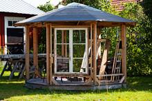 A Gazebo Under Construction In Garden At Umedalen