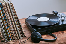 Vinyl Records And Turntable Vinyl Player