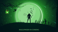 Halloween Is Coming, Beautiful Horizontal Greeting Postcard With Green Halloween Landscape, Werewolf, Big Full Moon And Zombie