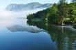Leinwandbild Motiv Bohinj See im Nebel