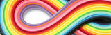 Fototapeta Rainbow - Abstract color wave rainbow strip paper background. Template for prints, posters, cards.