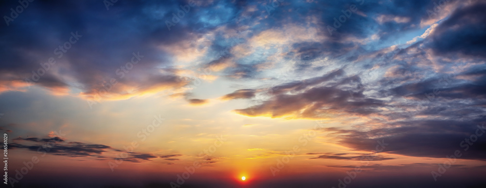 Fototapety, obrazy: Panorama twilight sky and cloud at sunset background image