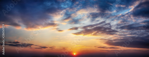 Panorama twilight sky and cloud at sunset background image