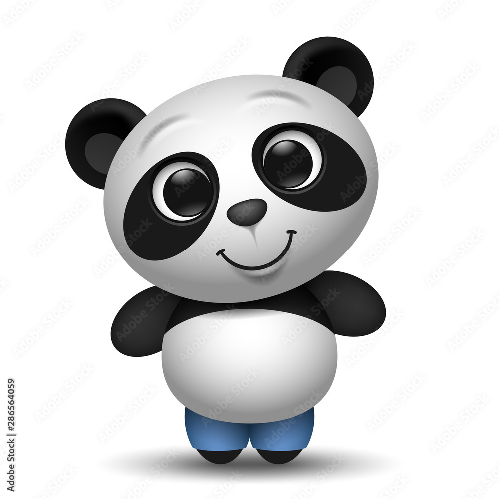 Fototapety, obrazy: cute cartoon panda toy illustration