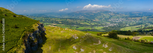 Obraz Aerial panorama of the limestone cliffs at Llangattock in the Brecon Beacons, South Wales - fototapety do salonu