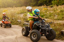 Child Girl Rides On Quad