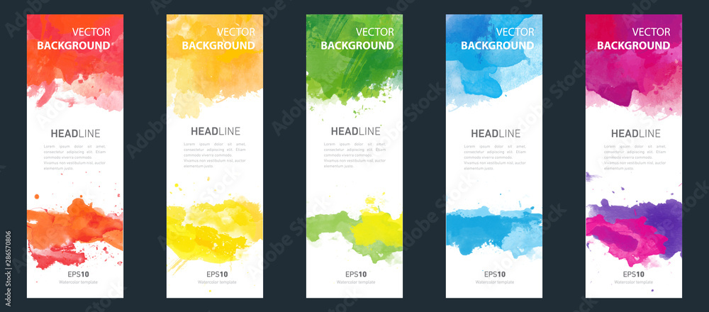 Fototapeta Flyer or banner template design bundle set with watercolor background.