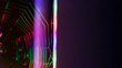 Leinwanddruck Bild - Bright ultra colored spider web or cobweb on a dark background. Technology background concept. 16:9 panoramic format. Copy space