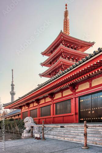Senso-Ji pagoda and temple in evening in Tokyo, Japan Wallpaper Mural