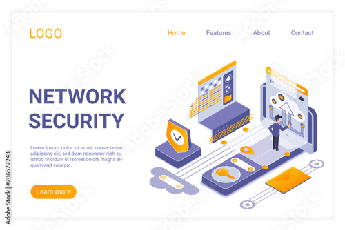 Network security landing page isometric vector template. Data encryption, personal information protection service web banner 3d concept. Computer anti virus system website homepage layout.