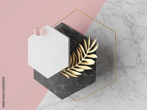Fotomural 3d abstract modern minimal background, white polygonal canvas isolated on pink,