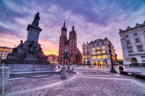 St. Mary's Basilica on the Krakow Main Square at Sunrise, Krakow