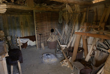 Historic Wood Workshop In Hedeby Near Schleswig On The Schlei, Baltic Sea, Germany