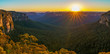 canvas print picture sunrise at govetts leap lookout, blue mountains, australia 52