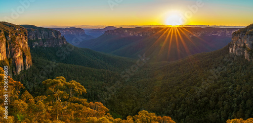 Papel de parede  sunrise at govetts leap lookout, blue mountains, australia 52