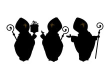 Saint Nicholas Collection Of Silhouettes Isolated On Transparent Background