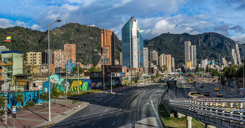 Tropical city between mountains Bogotá Colombia, paradise with mountain Canvas Print