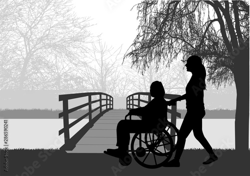 Fotografia, Obraz Vector silhouette of a woman who is in a wheelchair.