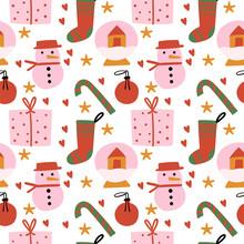 Cute Christmas Seamless Patter...
