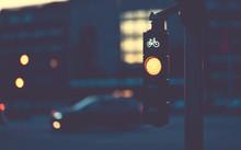 Bicycle Traffic Light At Night...