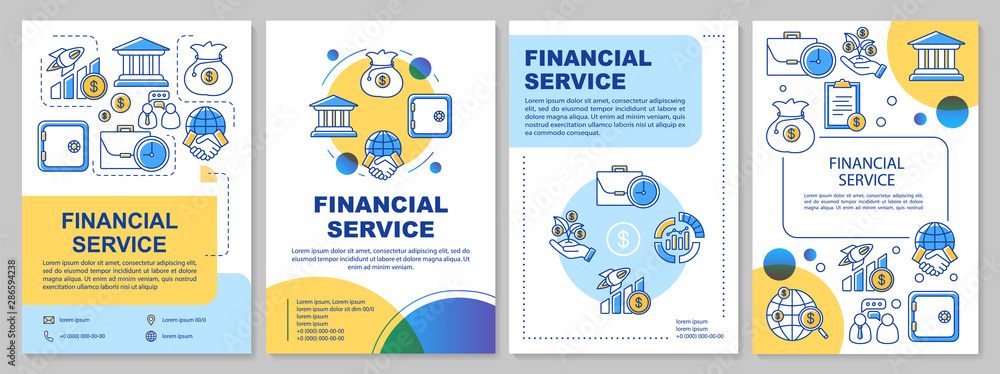 Fototapeta Financial service template layout. Flyer, booklet, leaflet print design with linear illustrations. Accounting, banking industry. Vector page layouts for magazines, annual reports, advertising posters