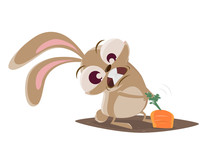 Funny Cartoon Illustration Of A Crazy Rabbit Pulling On A Carrot