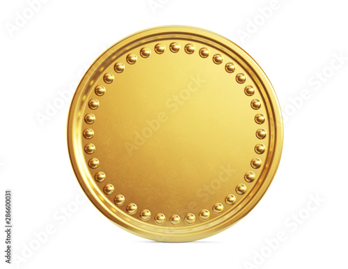 Empty gold coin sign isolated on a white background Wallpaper Mural