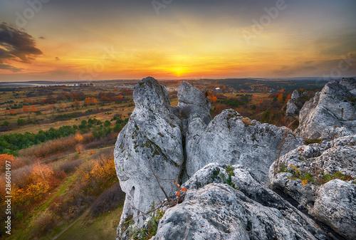 Landscape of sunset at Jura Krakowsko-Czestochowska in Poland