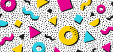 Background In The Style Of The 80s With Multicolored Geometric Shapes. Illustration For Hipsters Memphis Style