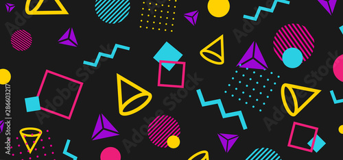 Stampa su Tela Abstract 80 style background with colorful geometric shapes