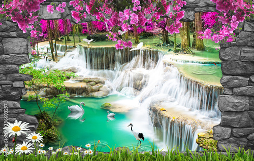 Staande foto Watervallen 3d nature wallpaper and stone arch waterfall