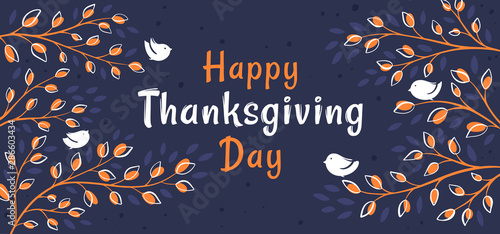 Background with birds on branches and hand drawn lettering Happy Thanksgiving Fototapeta