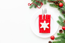 Christmas Table Setting With Fir Tree And Toys On White Background Top View Space For Text