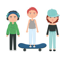 Group Of Young People Urban Style Characters