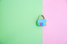 Cute Padlock On Pastel Color B...