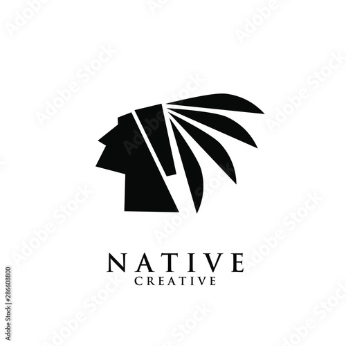 native apache indian logo icon designs vector illustration template Canvas Print