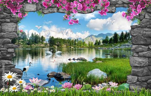 Foto op Plexiglas Grijs 3d nature wallpaper and stone arch waterfall