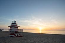 Sunrise Over A Lifeguard Stand On Miami Beach