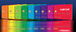 Leinwanddruck Bild - Credit cards in a row with colors of the spectrum.