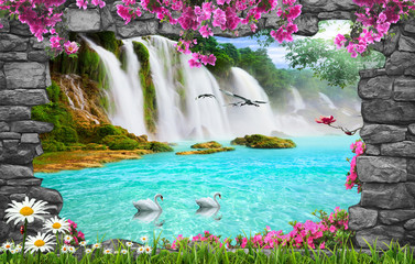 Fototapeta3d nature wallpaper and stone arch waterfall